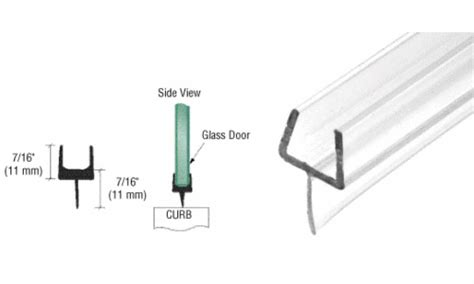 Shower Door Wipes And Seals Crl One Bottom Rail With Clear Wipe For 3 8 Quot Glass