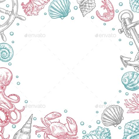 shell card template sea shell template for greeting card and poster by