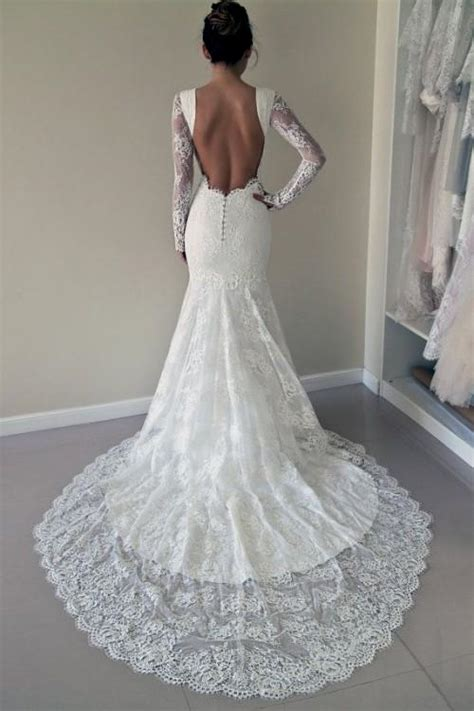 lace wedding dress with sleeves and open back tumblr Naf
