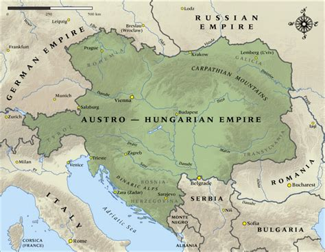 austro hungarian empire map map of the austro hungarian empire in 1914 nzhistory
