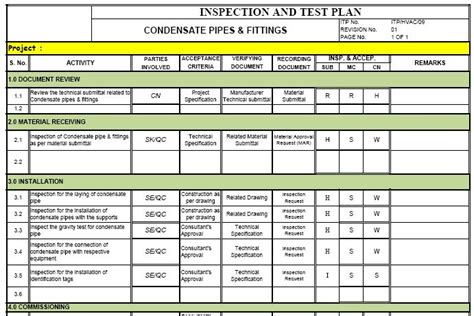 inspection test plan template inspection test plan format images