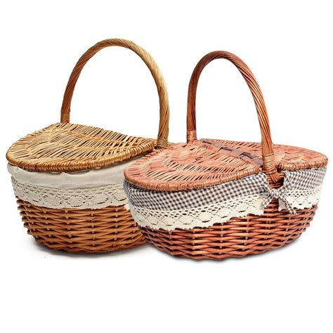 hand  wicker basket wicker camping picnic basket