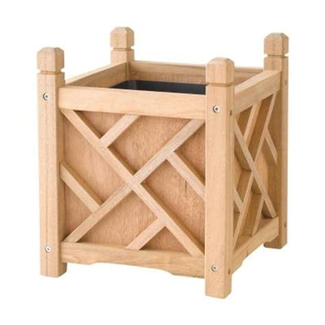 dmc chippendale 14 in square wood planter 70201