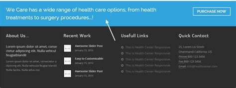 call center themes wordpress how to manage footer call out in health center theme