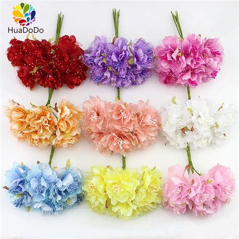 Bunga Palsu Plastik Artifisial 4 6pcs 4cm silk carnations with gauze stamen artificial flower bouquet for wedding decoration diy