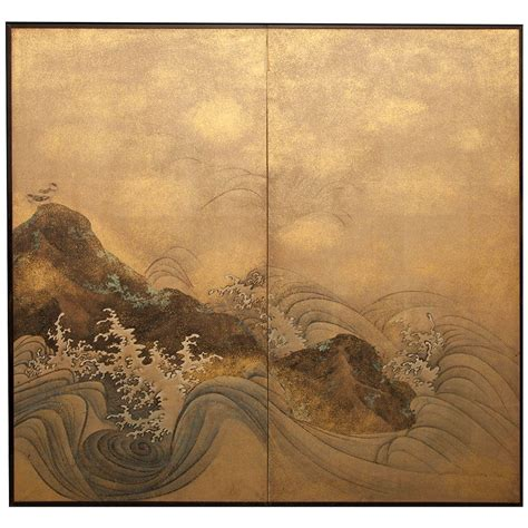 japanese two panel screen rocks and waves with plovers