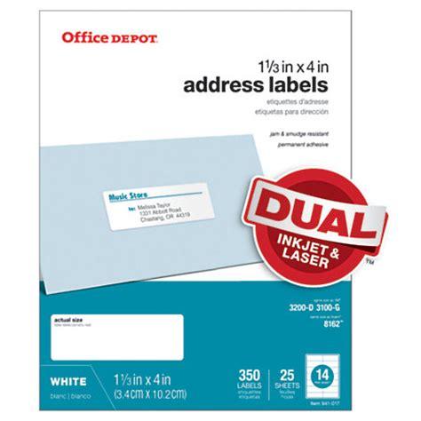 Office Depot Brand White Inkjetlaser Address Labels 1 13 X 4 Pack Of 350 By Office Depot Officemax 450 Inkjet Address Return To
