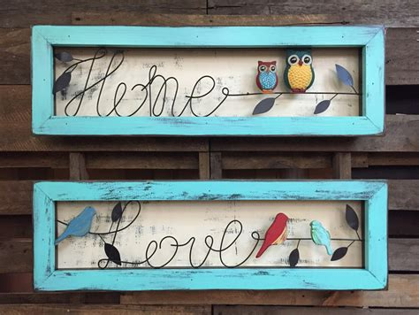 owl decor childrens gifts signs home decor rustic by sign owl home love birds reclaimed framed wood shadowbox