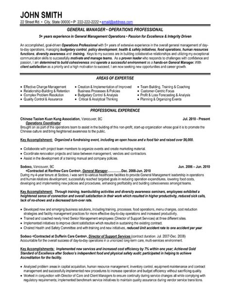 Resume Sles General Manager Resume Format Resume Template General