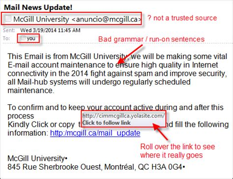 It Security Alerts And Service Status It Services Mcgill University Phishing Awareness Email Template