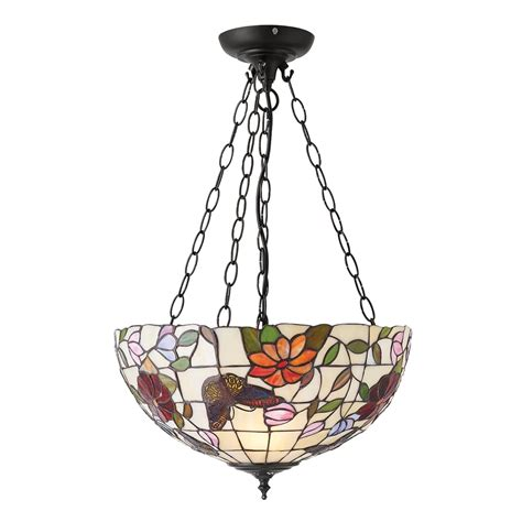 Butterfly Ceiling Light Interiors 1900 Butterfly Medium 3 Light Inverted Ceiling Pendant With Floral Decoration