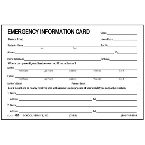 child emergency card template 52e large emergency information card 4 x 6 size