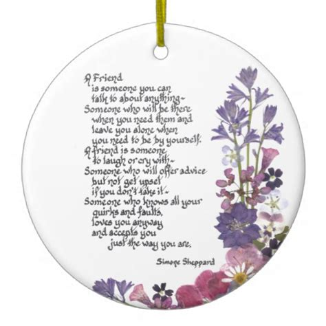 friendship poem double sided ceramic round christmas
