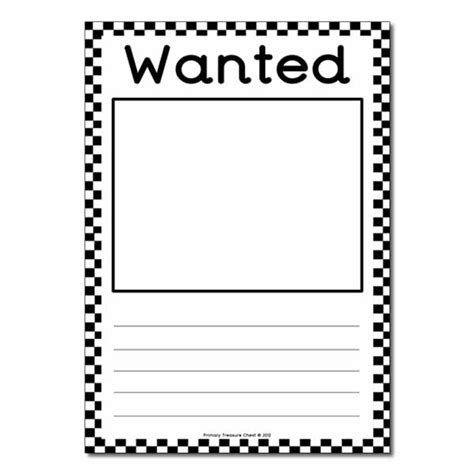 Role Play Us Police Blank Wanted Poster Primary Treasure Chest Wanted Poster Template Free Printable