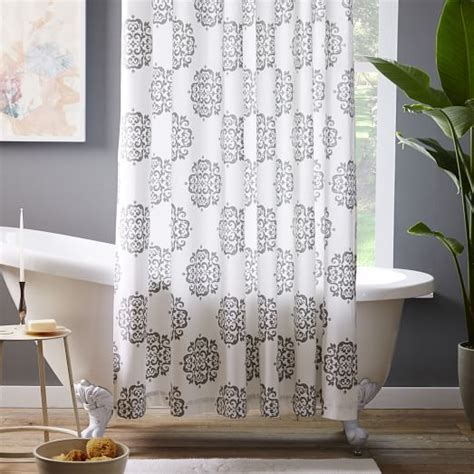 West Elm Medallion Shower Curtain Decor Scroll Medallion Shower Curtain Feather Gray West Elm