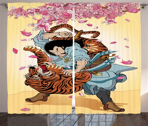 tiger home decor japanese curtains 2 panels set battle samurai tiger home decor ebay