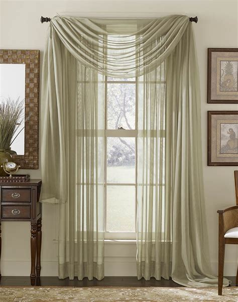 Hanging Sheer Curtains Platinum Voile Flowing Sheer Scarf Curtainworks