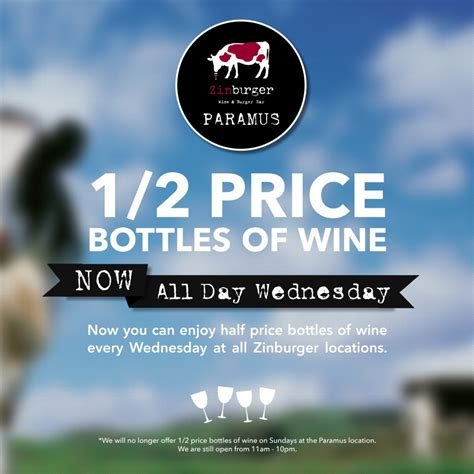 Zinburger Garden State Plaza Hours Zinburger Paramus Adopts 1 2 Price Wine Wednesdays Boozy