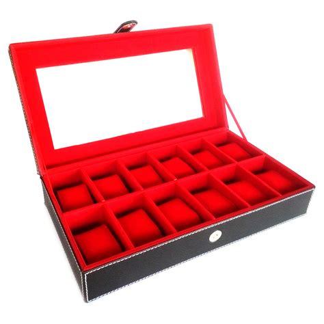 jual kualitas kotak jam tangan isi 12 hitam dalam merah modemku mega sarana