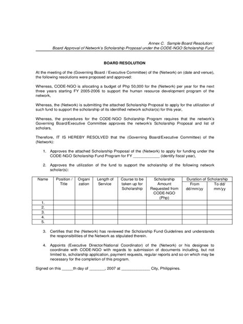 board resolution template 6 free templates in pdf word