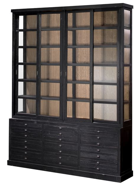 monte carlo black oak sliding glass cabinet bookcase 91