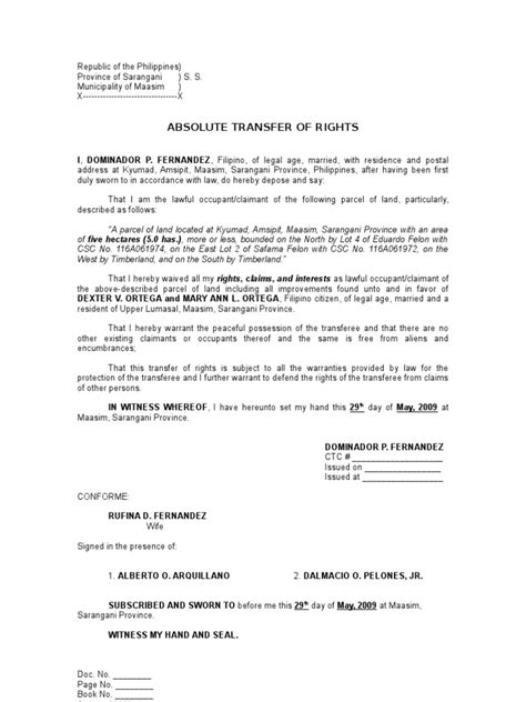 Letter Of Credit Sle Form Philippines Absolute Transfer Of Rights Sle Common