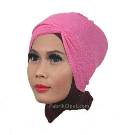 Bandana Rajut Dua Warna Polos ciput rajut anti pusing kerut warna pink soft pabrik