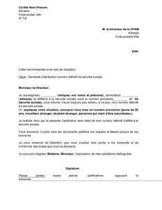 Exemple De Lettre Securite Sociale exemple gratuit de lettre demande attribution un num 233 ro