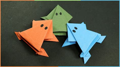 origami paper craft for origami frog that jumps easy paper craft for