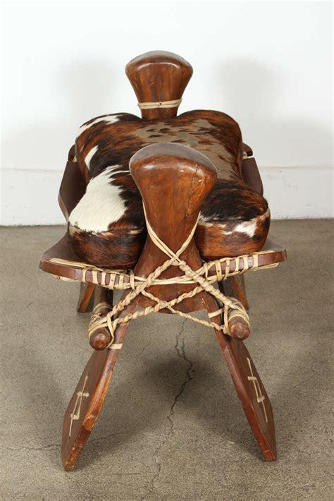 camel saddle ottoman camel saddle seat footstool with hide cushion image 6
