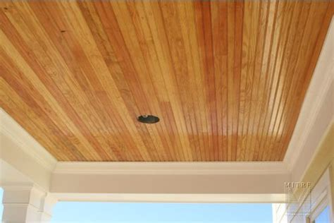 stained beadboard porch ceiling unpainted pine ceiling for the home