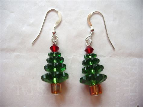 christmas tree earrings made w swarovski crystals holiday