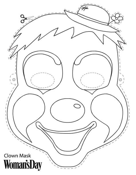 printable clown mask clown crafts clowns and masks on pinterest