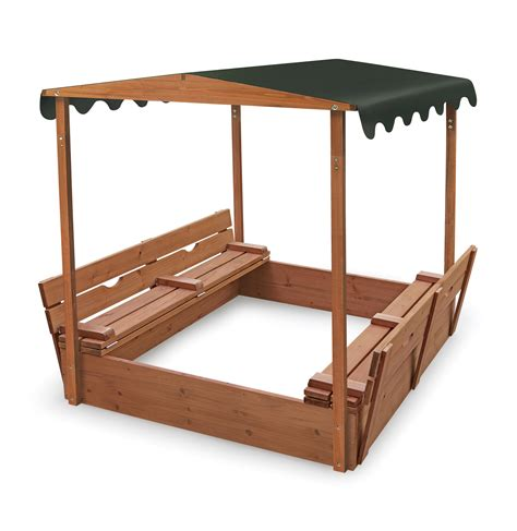 covered bench covered convertible cedar sandbox w canopy ojcommerce
