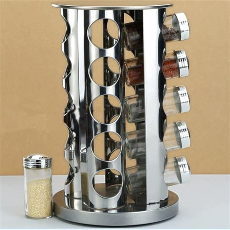 Stainless Spice Rack by Kitchen Seasoning Holder Stainless Steel 20 Taste
