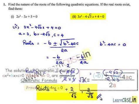 Discriminant And Nature Of Roots Worksheet
