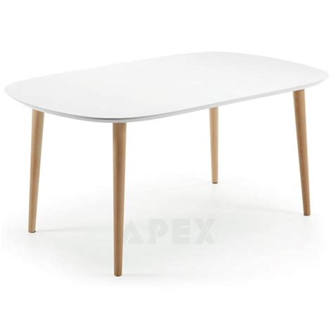 Large White Dining Table Antonelle Large Extendable Dining Table Oval White Top Wood Legs 160 260cm Barons