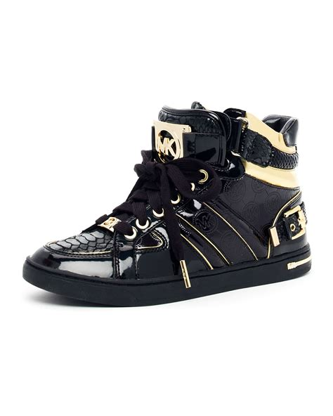 black michael kors sneakers lyst michael kors fulton hightop in black