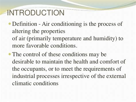 comfort cooling definition air conditioning system