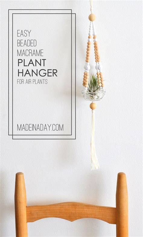 Easy Macrame Plant Hanger - easy beaded macrame plant hanger made in a day