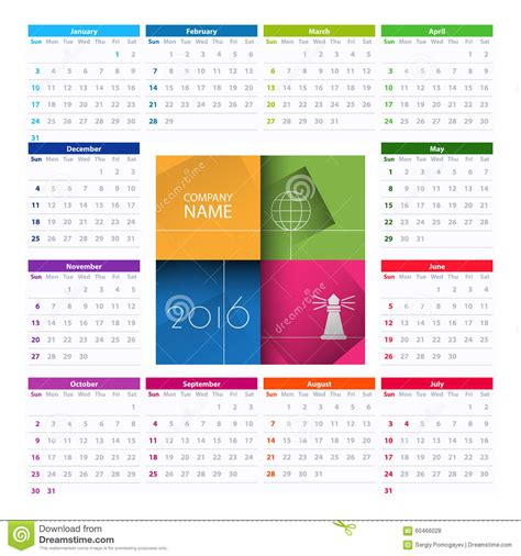 layout calendar design 2016 calendar 2016 vector design template stock vector image