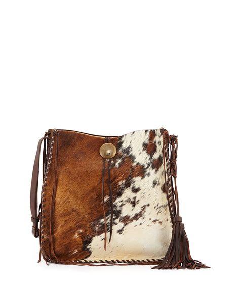 Cowhide Bag - ralph artisinal calf hair tassel hobo bag