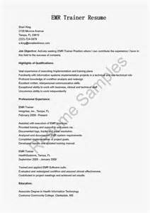 Emr Trainer Cover Letter resume sles emr trainer resume sle