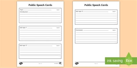 speech note card template speaking notes planning template speech