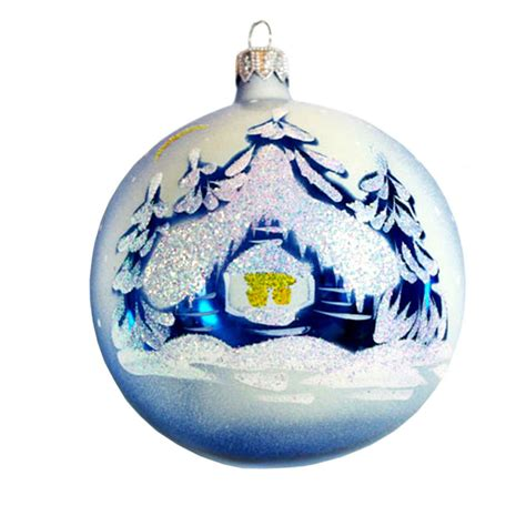 santa s grotto blue christmas ball ornament ebay