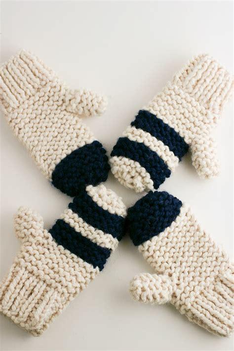 knitting pattern chunky yarn mittens garter stitch chunky mittens maker crate