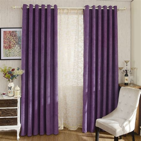 Purple Curtains For Bedroom Modern Purple Color Solid Chenille Bedroom Curtains
