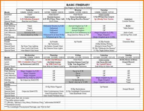 vacation itinerary template free itinerary template calendar template 2016