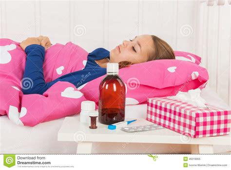 bed medicine sick teenager girl stock image image of drug illness