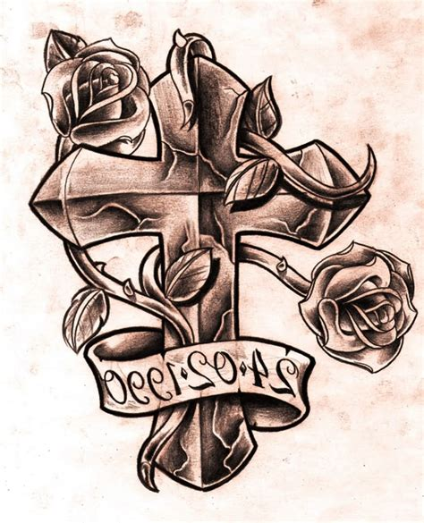 cross and banner tattoo designs cross images designs